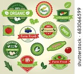 organic food  farm fresh and... | Shutterstock .eps vector #683066599