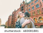 happy girls embracing and... | Shutterstock . vector #683081881