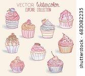 watercolor cupcake collection   ... | Shutterstock .eps vector #683082235