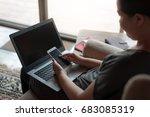 woman freelancer using... | Shutterstock . vector #683085319