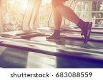 electric treadmills people... | Shutterstock . vector #683088559