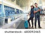young asian couple tourist with ... | Shutterstock . vector #683092465