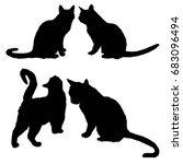 cat silhouette  vector... | Shutterstock .eps vector #683096494
