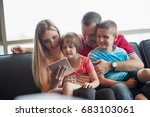happy young family playing... | Shutterstock . vector #683103061