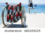 wheelchair   lifting crane on... | Shutterstock . vector #683104225