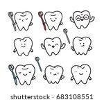 funny hand drawn teeth. dentist ... | Shutterstock .eps vector #683108551