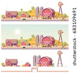 vector low poly farm with... | Shutterstock .eps vector #683109691