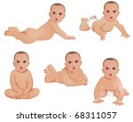 five tan babies in a variety of ... | Shutterstock . vector #68311057