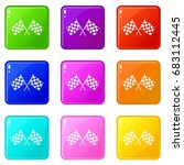 checkered racing flags icons of ... | Shutterstock .eps vector #683112445