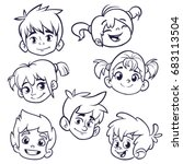 cartoon child face icons.... | Shutterstock .eps vector #683113504