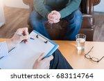 psychologist taking notes... | Shutterstock . vector #683114764