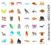 many animals icons set. cartoon ... | Shutterstock .eps vector #683115409