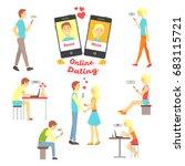 online dating app  people... | Shutterstock .eps vector #683115721