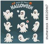 vintage halloween poster design ... | Shutterstock .eps vector #683120467