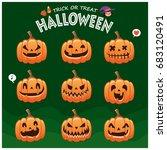 vintage halloween poster design ... | Shutterstock .eps vector #683120491