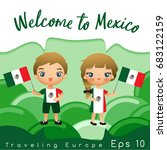 mexico   boy and girl with... | Shutterstock .eps vector #683122159