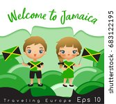 jamaica   boy and girl with... | Shutterstock .eps vector #683122195