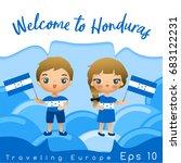 honduras   boy and girl with... | Shutterstock .eps vector #683122231