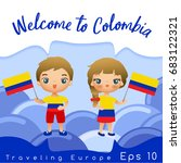 colombia   boy and girl with... | Shutterstock .eps vector #683122321
