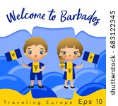 barbados   boy and girl with... | Shutterstock .eps vector #683122345