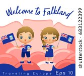falkland   boy and girl with... | Shutterstock .eps vector #683122399