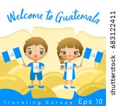 guatemala   boy and girl with... | Shutterstock .eps vector #683122411