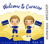 curacao   boy and girl with... | Shutterstock .eps vector #683122429