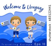 uruguay   boy and girl with... | Shutterstock .eps vector #683122441