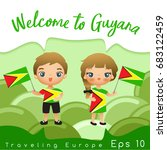 guyana   boy and girl with... | Shutterstock .eps vector #683122459