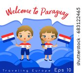 paraguay   boy and girl with... | Shutterstock .eps vector #683122465