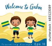 gabon   boy and girl with... | Shutterstock .eps vector #683123089