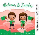 zambia   boy and girl with... | Shutterstock .eps vector #683123281