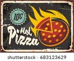 pizzeria restaurant sign with... | Shutterstock .eps vector #683123629