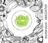 vector hand drawn farm... | Shutterstock .eps vector #683124769