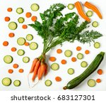 composition sliced carrots and... | Shutterstock . vector #683127301