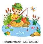 the boy sits on a rock and... | Shutterstock .eps vector #683128387