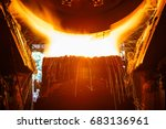 liquid metal from blast furnace ... | Shutterstock . vector #683136961