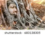 ayutthaya buddha head statue... | Shutterstock . vector #683138305