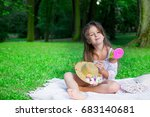 little girl with straw  hat and ... | Shutterstock . vector #683140681
