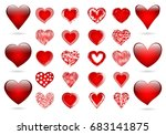 set of red hearts for wedding... | Shutterstock . vector #683141875