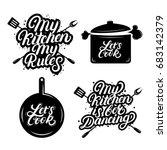 set of kitchen hand written... | Shutterstock .eps vector #683142379