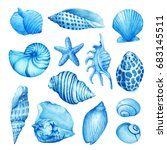 set  composition of underwater... | Shutterstock . vector #683145511