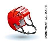 classic red ice hockey helmet.... | Shutterstock .eps vector #683156341