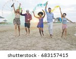 young friends running with...   Shutterstock . vector #683157415