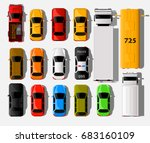 cars top view. city vehicle... | Shutterstock .eps vector #683160109