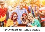 happy sport friends fans...   Shutterstock . vector #683160337