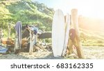 surfers camp builded with sea... | Shutterstock . vector #683162335