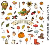 hand drawn doodle autumn icons... | Shutterstock .eps vector #683169751