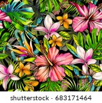 botanical tropical pattern with ... | Shutterstock . vector #683171464