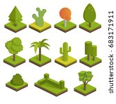 set isometric 3d trees.big and... | Shutterstock .eps vector #683171911